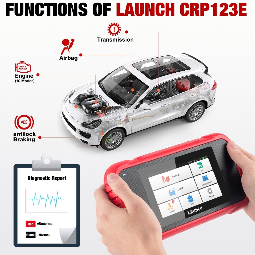 LAUNCH X431 CRP123E OBD2 Code Reader for Engine ABS Airbag SRS Transmission OBD Diagnostic Tool Free Update Online Lifetime
