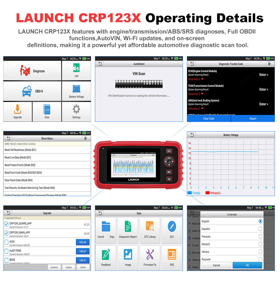 LAUNCH CRP123X OBD2 Code Reader for Engine Transmission ABS SRS Diagnostics with AutoVIN Service Lifetime Update Online