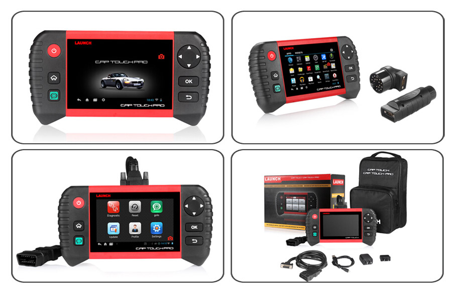 "Launch Creader CRP Touch Pro 5.0"" Android Touch Screen Full System Diagnostic Service Reset Tool with BENZ BMW Connector"