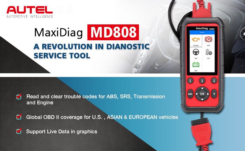Autel MaxiDiag MD808 Code Reader Professional Service Scan Tool for Engine/Transmission/SRS /ABS /EPB/ Oil Reset/ DPF/SAS and BMS with Life-time Online Update